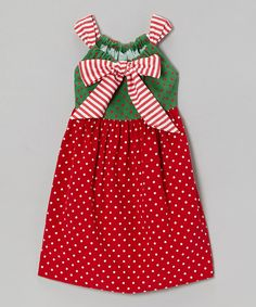 <p+style='margin-bottom:0px;'>Deck+the+girls+in+this+merry+dress+for+fashion+that's+classically+charming.+With+a+festive+mix+of+polka+dot+prints+and+adjustable+straps,+it+cuts+a+look+that's+perfect+for+spreading+some+cheer.<p+style='margin-bottom:0px;'> <li+style='margin-bottom:0px;'>100%+cotton<li+style='margin-bottom:0px;'>Machine+wash;+hang+dry<li+style='margin-bottom:0px;'>Made+in+the+USA<br+/>