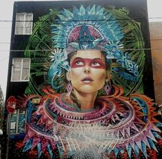 Artist 'Espectral Cauac Azul' glorious large scale Street Art in Mexico