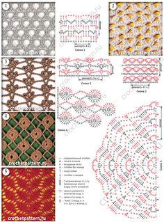 Мотивы и схемы с описанием вязания крючком сетчатых узоров. Страница 129.