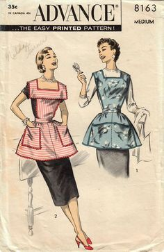 Advance 8163: Use this 1950s vintage sewing pattern for misses to sew a full bib apron with cobbler style o make it a hostess apron with a pretty collar and slip-on style.  Apron details: - bib front with square neckline and optional collar - halter style back or back bib with button