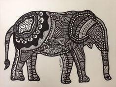 Elephant. Fine liner