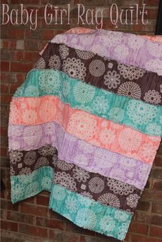 Baby Girl Rag Quilt Christmas Gift or Baby Shower Gift  by #SewInLoveWithBaby
