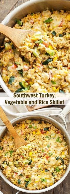 A healthy and delicious dinner made in one skillet and on the table in 30 minute or less! This Southwest Turkey, Vegetable and Rice Skillet is creamy, cheesy, full of vegetables, lean ground turkey and brown rice. It's sure to become a family favorite! One Pot Meals, Easy Meals, Food Dishes, Main Dishes, Cooking Recipes, Healthy Recipes, Skillet Recipes, Cooking Kale, Cooking Salmon