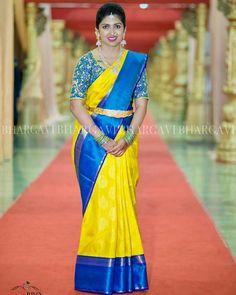 Blue Silk Saree, Bridal Silk Saree, Yellow Saree, Silk Sarees, Pattu Saree Blouse Designs, Bridal Blouse Designs, South Indian Bride Saree, Indian Sarees, Saree Color Combinations