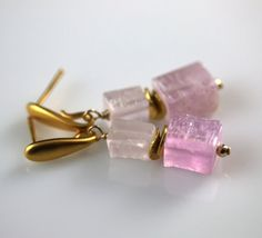 Kunzite Matte Brick Earrings in 24k Heavy Gold over Sterling Silver | Cargoh