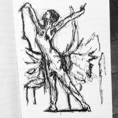 Ballet dance ballerina art sketch quicksketch beauty beautiful pen ink