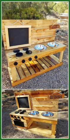 , This is a rather innovative creation of the wood pallet that will introduce you to the Kids Mud Kitchen service. , Incredible ideas to recycle and rebuild old wooden pallets Diy Mud Kitchen, Mud Kitchen For Kids, Pallet Mud Kitchen Ideas, Outdoor Play Kitchen, Wood Projects For Kids, Diy Pallet Projects, Play Kitchens, Wooden Pallets, Wooden Diy