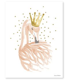 Pink flamingo gold crown wall art