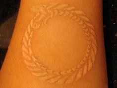 white ink 25 Fantastic Ouroboros Tattoo Collection