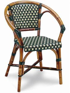 Beaufurn French Bistro chair in Pattern (B) Weave in Green & Ivory