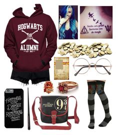 """hogwarts bound"" by alarmico ❤ liked on Polyvore featuring Warner Bros., Savanna, rag & bone/JEAN, Hanes, Sunday Somewhere and Magdalena"