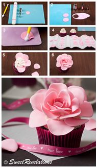How to make easy roses for cupcakes, etc. (Sweet Revelations). Simple and pretty.