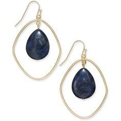 Inc International Concepts Gold-Tone Semi-Precious Orbit Drop... ($30) ❤ liked on Polyvore featuring jewelry, earrings, blue quartz, gold tone drop earrings, drop hoop earrings, hoop earrings, semi precious jewelry and blue earrings