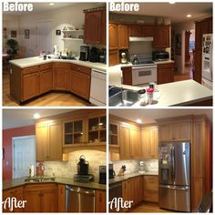 Before: Laminate counters. After: Shaker cabinets and Quartz counter tops