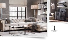 Restoration Hardware: The Petite Kensington Upholstered Right-Arm Sofa Chaise Sectional