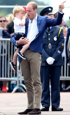 Prince William, Duchess Catherine and Prince George at RAF Fairford