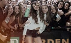 Selena Gomez in Daisy Dukes as she poses on Instagram with fans after concert in Boston | Daily Mail Online