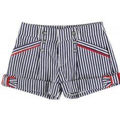 Mayoral Girls Blue and White Striped Nautical Shorts