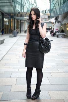 Stephanie of FAIIINT: Reiss black leather Ezra skirt, Topshop charcoal grey tank top, Rick Owens wedges, ASOS studded bangle, Balenciaga city bag