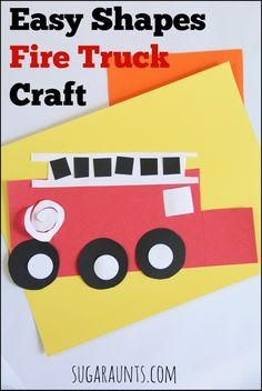 Easy shapes Fire Truck craft. This is perfect for Toddlers or Preschoolers during Fire Safety Week in October. Sugar Aunts Fire Safety Week, Fire Safety Crafts, Preschool Activities, Preschool Projects, Fire Truck Activities, Daycare Crafts, Preschool Crafts, Kids Crafts, Toddler Crafts