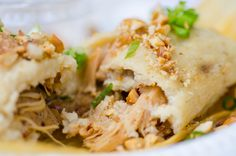 "Chinese Tamales AKA ""Chimales"" by Dominic Lau, San Gabriel, Calif.; As owner of LA's own ""Don Chow Taco Truck,"" Dominic Lau combines fresh masa stuffed with either Kung Pao Chicken or Chinese BBQ Pork to create his signature fusion dish"