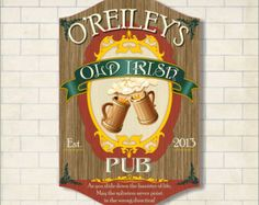 Old Irish Pub Personalized Sign with Beer Steins and Traditional Font, Irish Bar Sign, Bar Décor, Irish Tavern Sign, Vintage Bar Sign  C1225