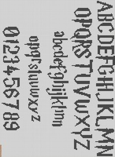 Friendship Bracelet Pattern - Whatever, that's definitely Harry Potter font for cross stitching.Alpha Friendship Bracelet Pattern - Whatever, that's definitely Harry Potter font for cross stitching. Harry Potter Alphabet, Harry Potter Font, Fonte Do Harry Potter, Embroidery Alphabet, Embroidery Patterns, Crochet Alphabet, Loom Patterns, Cross Stitching, Cross Stitch Embroidery