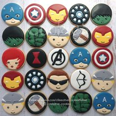 The avengers complete cookie connection sweets süper kahramanlar, pasta, pa Iced Cookies, Royal Icing Cookies, Sugar Cookies, Superhero Cookies, Superhero Cake, Bolo Dino, Avenger Cake, Avenger Cupcakes, Avengers Birthday