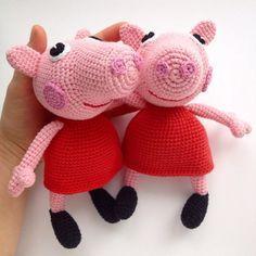 Вязаная игрушка свинка Пеппа крючком схема амигуруми