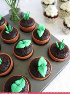 Caution- make sure the clay planters are sealed.   Just little green fondant sprouts on plain chocolate cupcakes for Imbolc   Shared by Confessions of Crafty Witches  ~WW~ and Better Gnomes & Cauldrons  ~jc