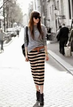 gray sweatshirt & stripe skirt #earnyourstripes | dress me ...