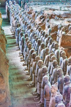 Terracotta Army. A collection of sculptures depicting the armies of the first Emperor of China. est: 200 BC