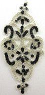 "Motif Black Sequns Silver Beads Rhinestones 7.5"" x 3.5"""