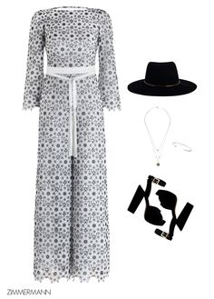 Race Ready: We're getting ready for the weekend in some of our favourite Spring racing looks. Pictured, the Empire Guipure Jumpsuit, Platform Heel, jewellery by Mania Mania and Short Brim Hat by The Hatmaker, exclusive to Zimmermann.