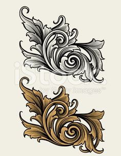 Broadleaf Scroll royalty-free stock vector art