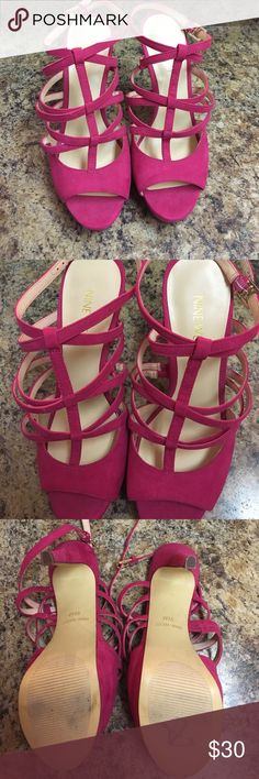 """Fuchsia Nine West Heeled Sandals Brand new Pink Nine West heels. No marks on the heels just a few """"try on"""" marks on the bottom of the heel. Ankle strap with buckle closure. Nine West Shoes Heels"""