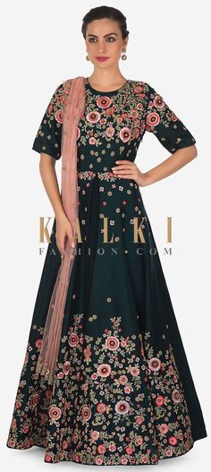 e8c7560851 Teal blue anarkali suit with front slit and embroidered bodice and hem only  on Kalki