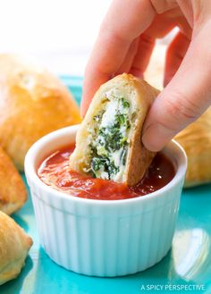 A cozy party snack for the holidays and upcoming game days, our Mini Spinach Ricotta Calzone Recipe.