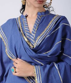 Blue Gota Cotton Kurta with Sharara and Dupatta (Set of Pakistani Dress Design, Pakistani Outfits, Indian Outfits, Indian Attire, Pakistani Clothing, Indian Clothes, Kurti Designs Party Wear, Kurta Designs, Blouse Designs