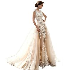 Angel Formal Dresses Women's Jewel Appliques Lace Mermaid Detachable Train Tulle Wedding Dress(18,Champagne)