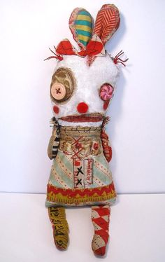 Handmade Art Doll Monster Bunny BonBon by JunkerJane on Etsy