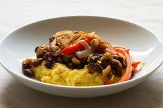 black bean polenta burrito bowl // edible perspective
