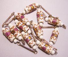 "Mid Century Venetian Wedding Cake Bead 33"" Necklace Gold Links White Art Glass 814D"