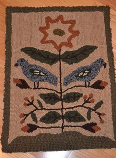 18in x 24in. PRIMITIVE HOOKED RUG #Primitive