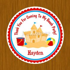 Beach Sand Party Favor Stickers  Name and Personal by jessica91582, $3.50