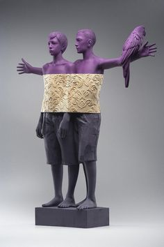Figurative Wood Sculptures by Willy Verginer…