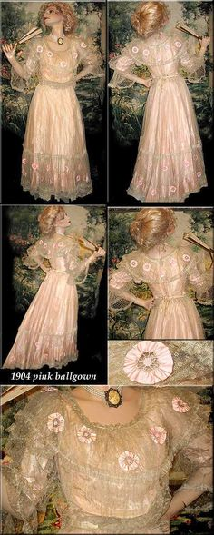 FANCY VERY GOWN- BALL Lace blonde ribbon flowered PINK Ethereal 1904