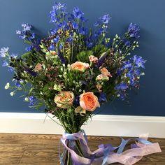 Delphinium Bouquet, Blue Flowers Bouquet, Blue Delphinium, Floral Wreath, Bright, Wreaths, Plants, Home Decor, Homemade Home Decor