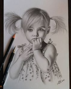Little girl – Drawing Techniques Pencil Sketch Drawing, Girl Drawing Sketches, Portrait Sketches, Pencil Art Drawings, Realistic Drawings, Pencil Portrait, Pencil Sketches Of Girls, Drawing Portraits, Portrait Ideas