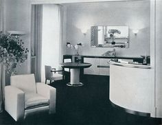 1940 End of Deco Period... This sweeping bar and entertaining area was designed by French Art Deco modernist designer Jacques Adnet. Paris would fall to the Nazis this year.